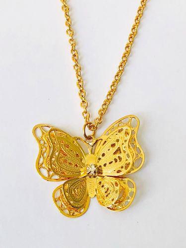 Collar De Mariposa Oro 18k Lam. Y Brillantes Swarovski.