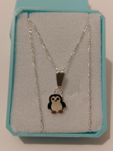 Collar De Pinguino Negro De Plata Con Cadena De Plata 925