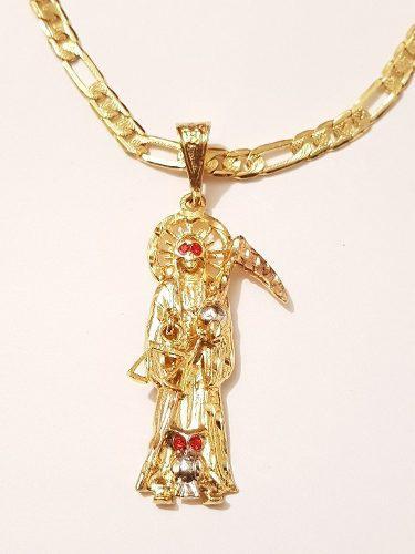 Collar De Santa Muerte 6 Cm Ojos Rojos Con Cadena De 60 Cm