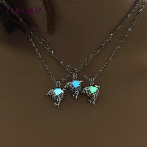 Collar Delfin Corazon Brilla En Oscuridad Envio Gratis