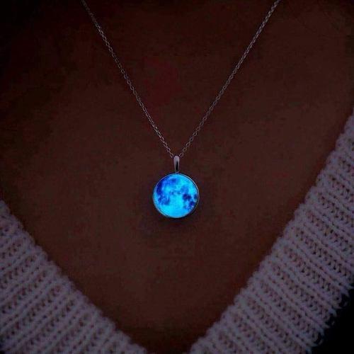 Collar Dije Luna Acero Inoxidable Brillante Oscuridad Novios