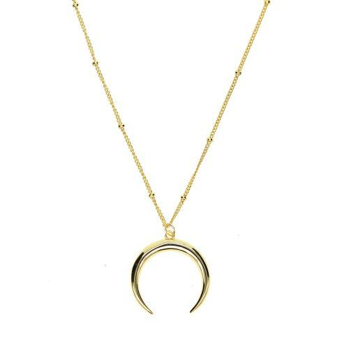 Collar Dije Luna Plata.925 (baño En Oro)