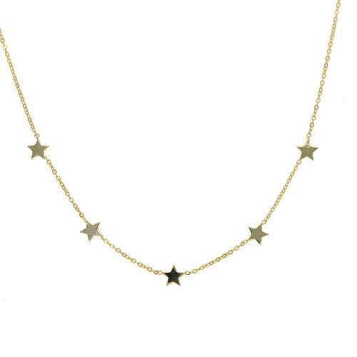 Collar Gargantilla Con Estrellas Plata.925