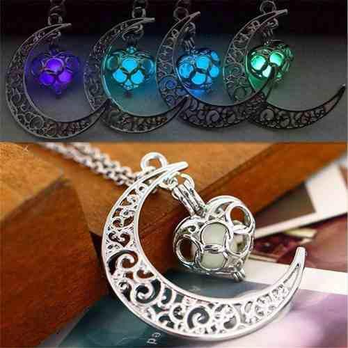 Collar Luna Corazón Brilla En Oscuridad Colores