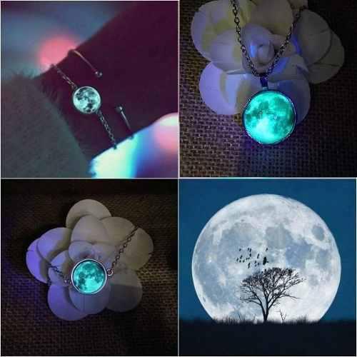 Collar O Pulsera Luna Llena Brilla Oscuridad Moda Brillante