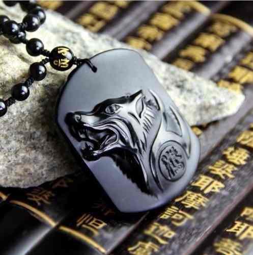 Collar Pendiente De Lobo Obsidiana Amuleto Suerte!