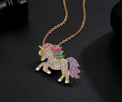 Collar Unicornio Y Cristales Swarovski En Oro 18k Lam
