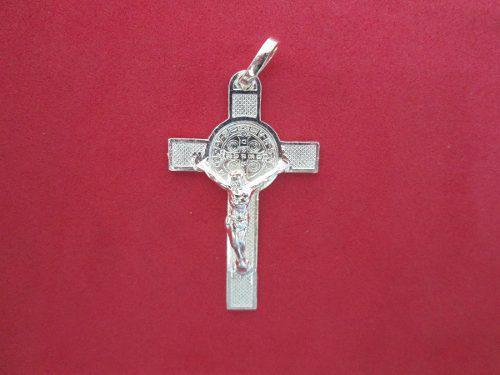 Cruz De San Benito Con Cristo En Plata Fina.925.