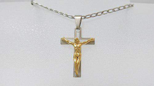 Dije Cruz Cristo Acero Inoxidable Bicolor