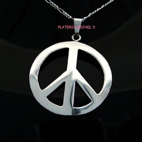 Dije De Amor Y Paz Grande En Plata Ley 0.925
