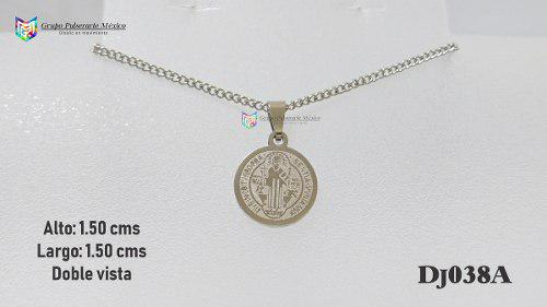 Dije Medalla San Benito 15mm Acero Plateado