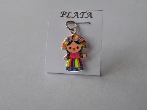 Dije Muñeca Trapo Mexicana Plata 925. 2.5cm