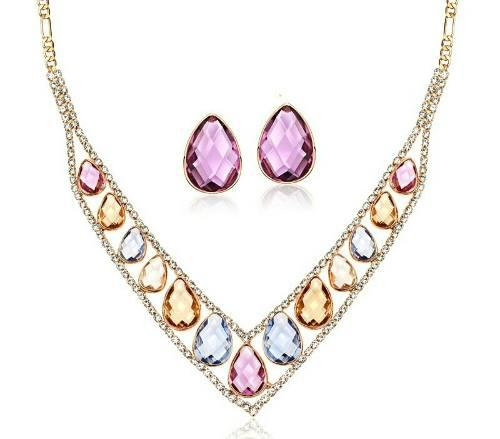 Fino Set Collar Aretes Cristal Swarovski Elements 18kgp
