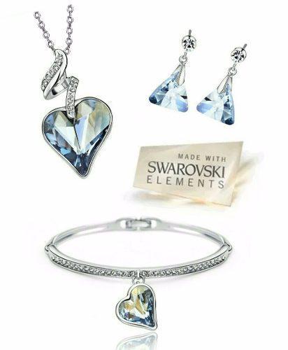 Fino Set Corazón Swarovski Elements Oro18kgp + Anillo