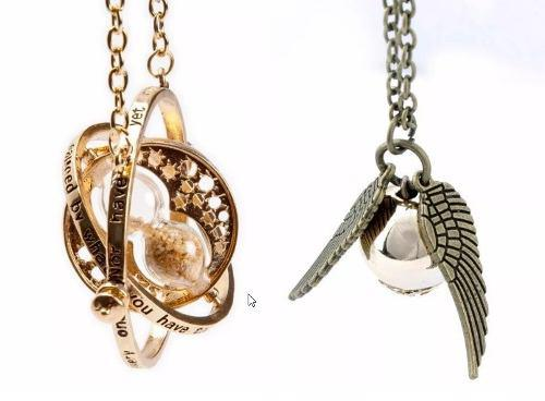 Harry Potter Giratiempos Y Snitch Dorada Quidditch Collar