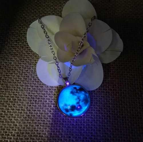 Luminiscente Collar Luna Llena Brilla Oscuridad Acero Inoxid