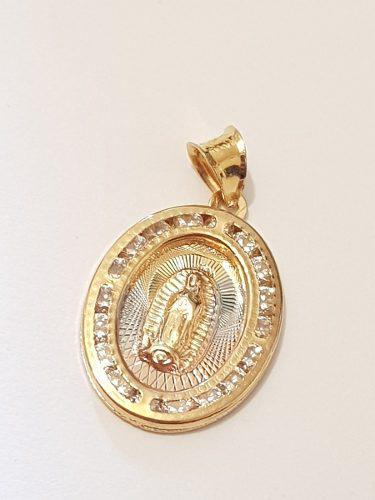 Medalla De Virgen De Guadalupe 1.7 Cm Oro Lam. Y Estuche