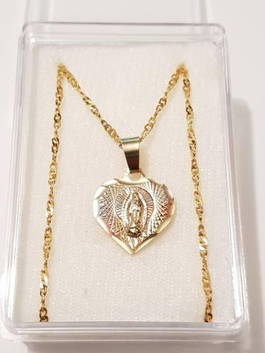 Medalla Virgen De Guadalupe Corazon1 De Oro Laminado 1.7 Cm