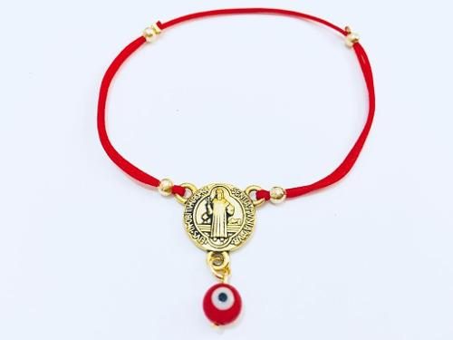 Pulsera Medalla San Benito Ojo Turco Rojo Hilo Rojo