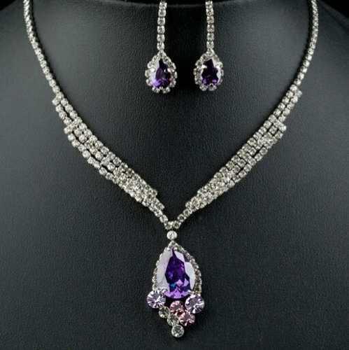 Set Lujo Cristal Swarovski Elem Collar Y Aretes 24kgp