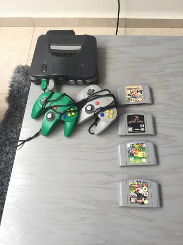 N64 Con 2 Controles Y 4 Juegos
