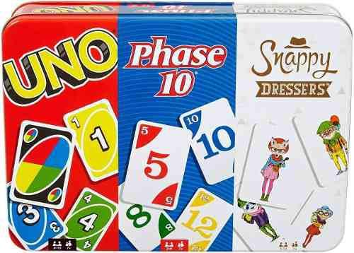 Uno Phase 10 Y Snappy Dressers 3 Juegos En Lata Envio Gratis
