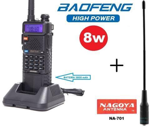 8w Radio Baofeng Uv-5r Pila De 3800 Mah + Antena Nagoya