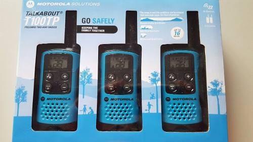 Motorola T100tp Kit 3 Radios 16 Millas De Linea Nuevos!