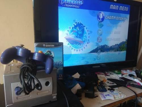 Nintendo Gamecube Plata Con Juego Waverace Game Cube