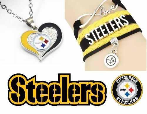 Set Collar Pulsera Pittsburgh Steelers Aceleros Envio Gratis