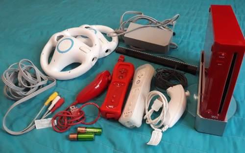 Wii Con Dos Controles, Dos Volantes Y Dos Pilas Recargables