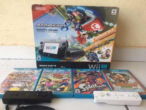 Nintendo Wii U Mario Kart 8 Deluxe 32gb+4 Juegos+2 Controles