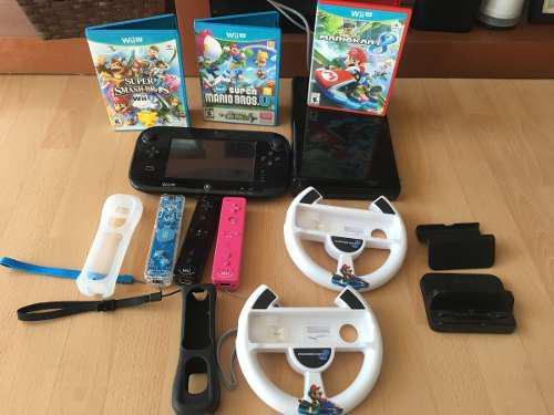 Nitendo Wii U Con 3 Juegos, 2 Volantes Y 3 Controles