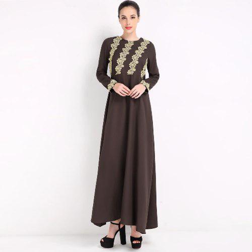 Moda Mujeres Musulmán Vestido Bordado Manga Largo Abaya