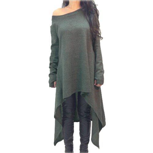 Mujeres Vestido Sólido Color Uno Hombro Alto Bajo Asimétri