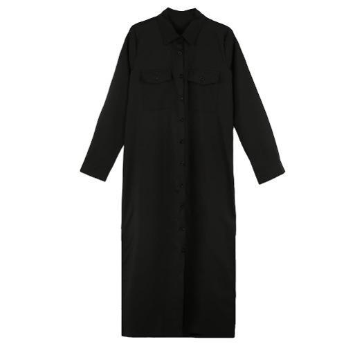 Nuevo Moda Mujeres Camisa Vestido Vez Abajo Collar Largo Man