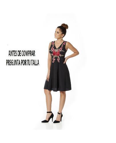 Vestido 10677 Bordado Flores Mexicanas Falda Circular