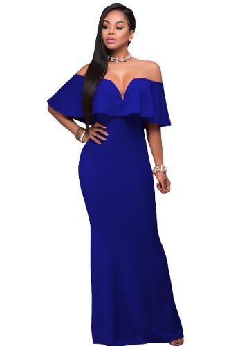 ca5741bc2 Vestido largo azul turquesa boda graduación