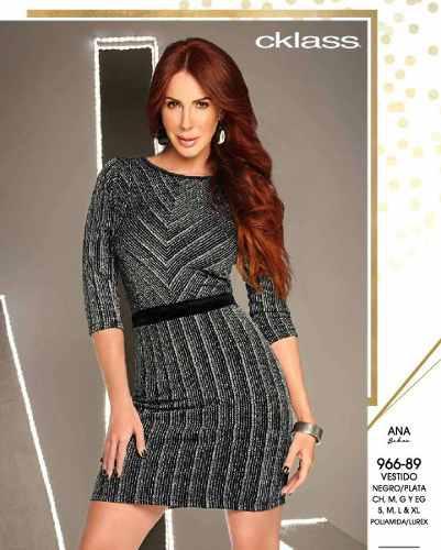 Vestido Cklass Negro / Plata 966-89 Otoño Invierno 2016