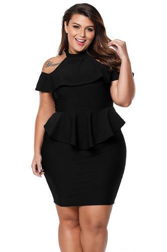 Vestido Corto Peplum Negro Entallado Talla Extra Plus