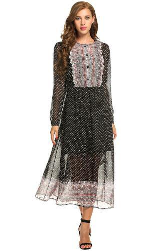Vestido De 2 Piezas Estilo Vintage Cuello-o Plisado P/mujer