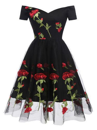 Vestido De Fiesta Flores Sin Hombro Moda Vintage Envio Grati