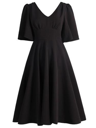 Vestido De Talla Grande Con Cuello En V