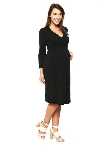 Vestido Maternidad Y Lactancia Negro Ropa De Mujer