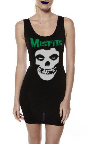Vestido Tirante Misfits Punk Rock Moda Alternativa