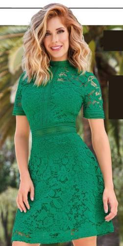 Vestido Verde De Crochet Cklass 995-03
