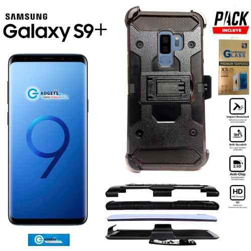 Funda Clip Uso Rudo Galaxy S9 Plus + Mica Cristal + Envio