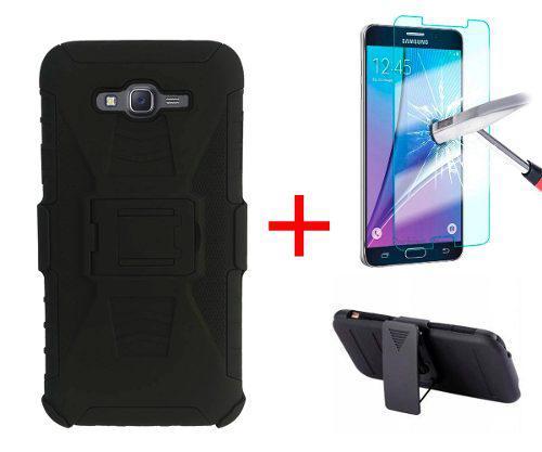 Funda Uso Rudo Clip Samsung Galaxy J7 + Mica Cristal Templad