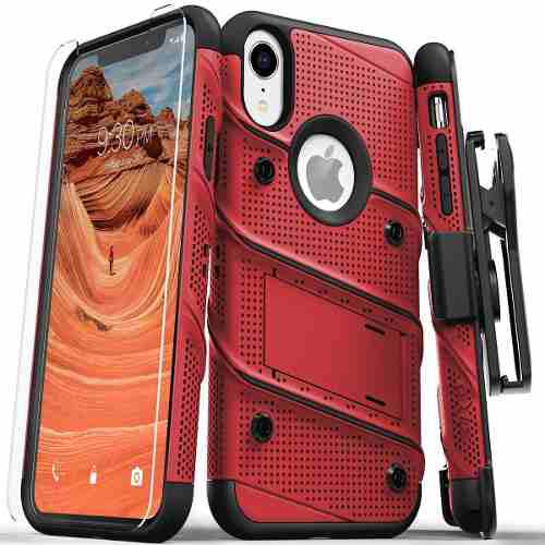 Funda Uso Rudo Zizo Iphone Xr Con Clip Y Cristal Templado