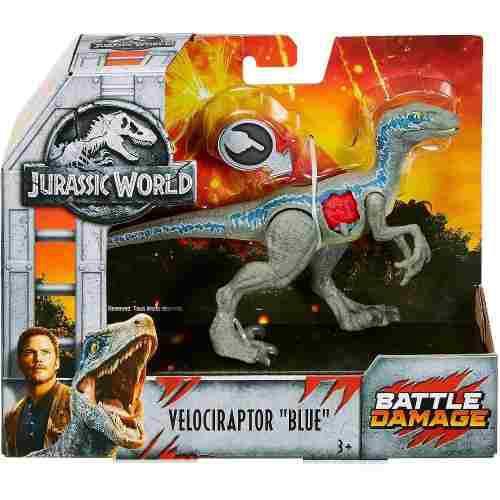 Jurassic World Battle Damage Velociraptor Blue Nuevo Herido